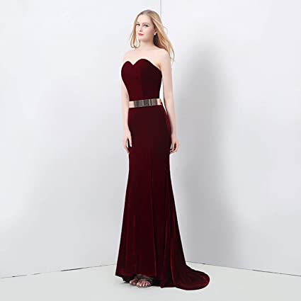98c72652e5b Amazon.com  AIBAB Evening Dress Velvet Slim Evening Dress Tube Top Open Back  Wine Red  Sports   Outdoors