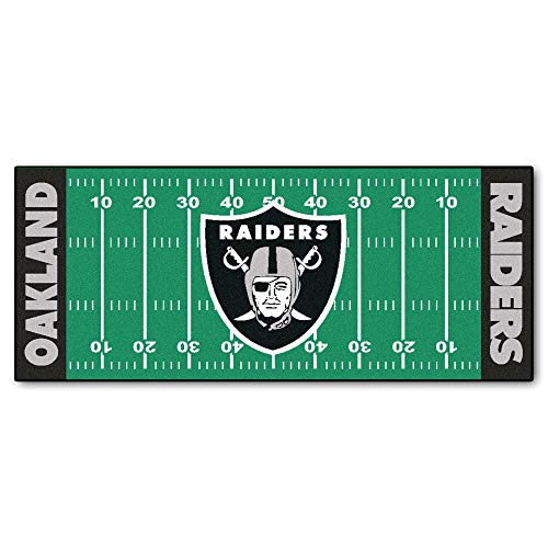 30x72 NFL Raiders Rug Football Field Runner XL Long Yoga Mat Sports Area Rug for Boys Bedroom Living Room Bathroom Rugs Runner Floor Carpet Athletic Game Fans Gift Nonslip Backing, Durable Soft Nylon ()