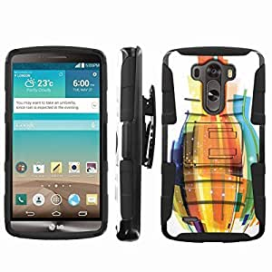 [ArmorXtreme] Rugged Hybrid Combat Armor Dual Layer Design Image Case With Kickstand Belt Holster Case (Abstract Bottle White) for LG G3