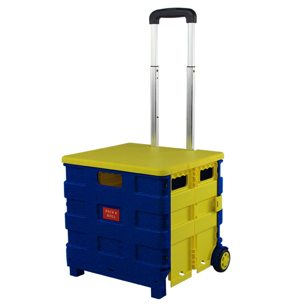 LONGGANGSHOP ポータブル折り畳み式ショッピングカート屋外PPは、伸縮式トロリーケースに使用できます(蓋あり) (色 : Blue yellow) B07FNQ7R6H Blue yellow Blue yellow