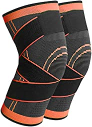 AIEOE 2 Pcs Knee Brace for Women Men Joint Pain Relief Knee Support Basketball Volleyball Knee Pads with Side