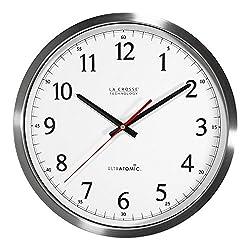 La Crosse Technology 404-1235UA-SS 14 inch UltrAtomic Analog Stainless Steel Wall Clock (1 Unit)