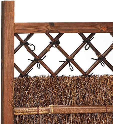 Oriental Furniture Japanese Dark Stain Wood Bamboo Garden Gate