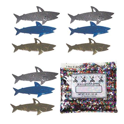 Confetti Sharks in a Blue, Silver, Gold Mix - Half Pound Bag (8 oz) - Free Ship- (8218)