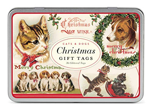 Cavallini Papers Glitter Gift Tags Christmas Cats and Dogs Assorted Gift Tags Packaged in a Tin, Set of 36 ()
