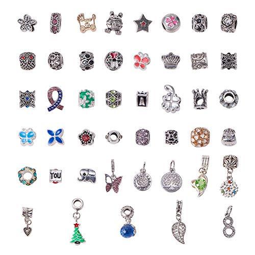 NBEADS Esmalte para Collar con Colgante de Aleacion de Diamantes de Imitacion Spacer Beads Charms Pulseras Brazalete Cadena de Serpiente Joyas Estilo Pandora