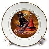 3dRose cp_6190_1 Vintage Halloween Black Cat Porcelain Plate, 8-Inch
