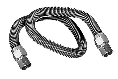 Flextron FTGC-SS38-48H 48 Inch Flexible Gas Line Connector with 1/2 Inch Outer Diameter & 3/8 Inch FIP x 3/8 Inch FIP Fittings, Uncoated Stainless Steel Water Heater Connector, CSA (Flexible Fuel Line)