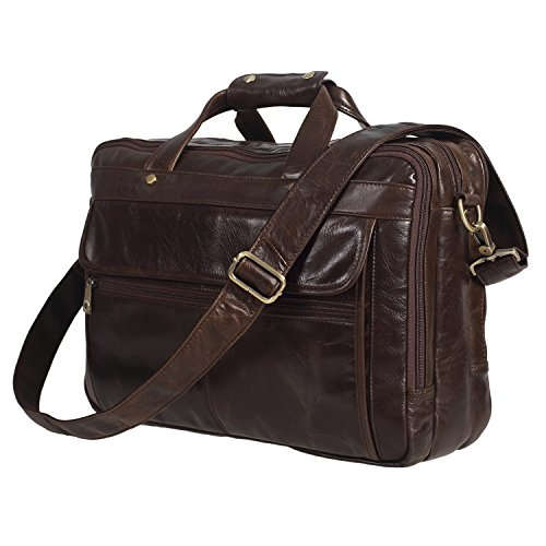 Polare Leather Men's Briefcase / Laptop Bag / Messenger, Coffee by Polare