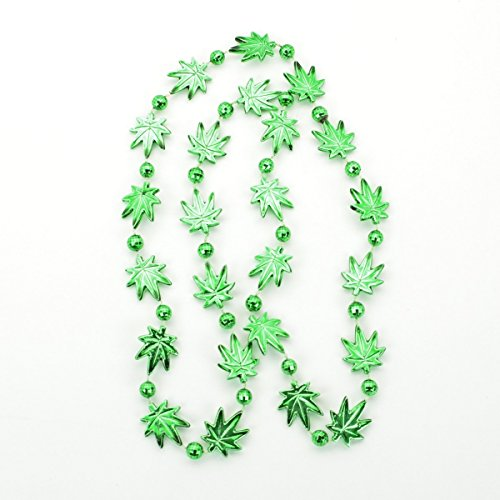 Pot Leaf Bead Necklaces Green Pack of 12