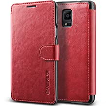 Galaxy Note 4 Case, Verus [Layered Dandy][Wine Red] - [Card Slot][Premium Leather Wallet][Slim Fit] For Samsung Galaxy Note 4