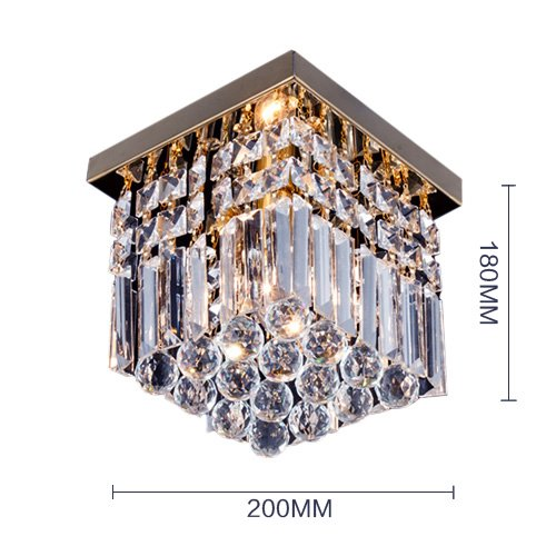 W8 Hallway Square Crystal Chandelier 1 Light Mini Modern Flush