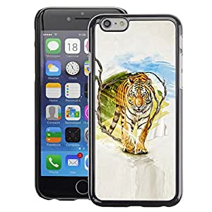 Snap-on Series Teléfono Carcasa Funda Case Caso para iPhone 6 , ( Tiger Painting Art )