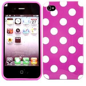 Polka Gel Caso Cubrir Concha Y Protector De Pantalla Para Apple iPhone 4 4S / White Polka Dots Spots Hot Pink