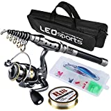 BlueStraw Fishing Rod and Reel Combos FULL Kit, Travel Spinning Telescopic Fishing Rod Reel Set with Fishing Line Lures Hooks and Fishing Bag Carrier Case Accessories (2.1M/6.89Ft Set) Review