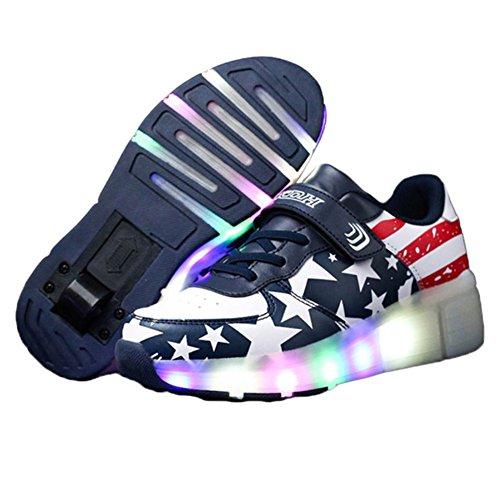 CICI Kind Jazzy Schuhe Junior Mädchen / Jungen LED Licht Schuhe Kinder Roller Skate Kinder Turnschuhe mit Rädern (2, blau)