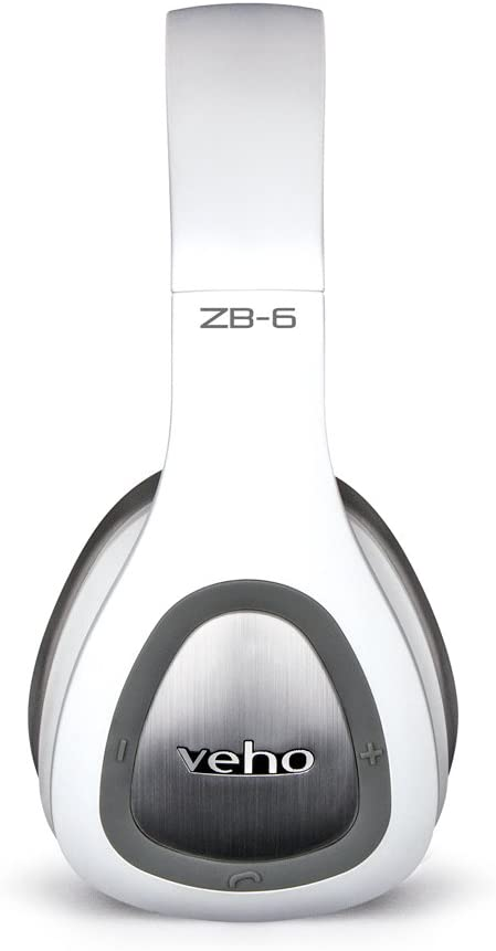Veho ZB-6 On-Ear Bluetooth Headphones | Foldable Design | Microphone | Remote Control | Wired Option | Rechargeable Wireless Headphone - White (VEP-016-ZB6-WH)