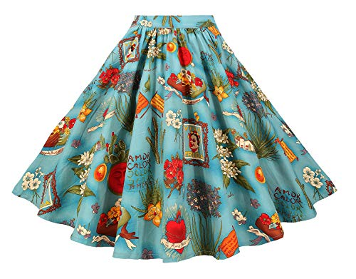 BI.TENCON Women 1950s Vintage Style Floral Printed A-line Retro Full Flared Skirt Knee Length Casual Skirt Blue Plus Size 2XL