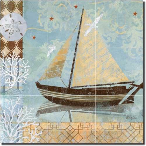 Oceanside Breeze II by Evelia - Seascape Nautical Ceramic Tile (Nautical Ceramic)