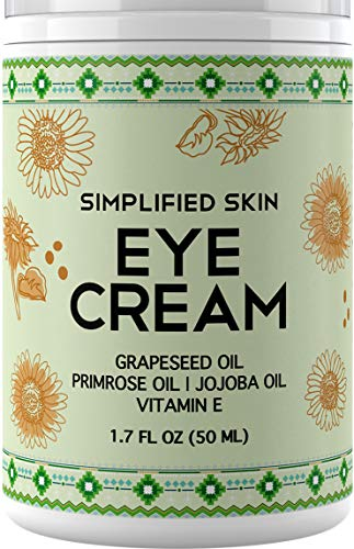 Eye Cream for Dark Circles, Wrinkles, Bags & Puffiness. Best Under & Around Eyes Anti-Aging Treatment with Organic Jojoba oil, Vitamin E & Witch Hazel by Simplified Skin 1.7 oz  (Best Eye Cream For Sunken Eyes)