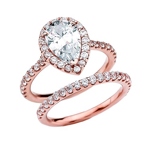 Exquisite 14k Rose Gold Pear CZ Solitaire Engagement/Wedding Ring Set (Size 8.25)