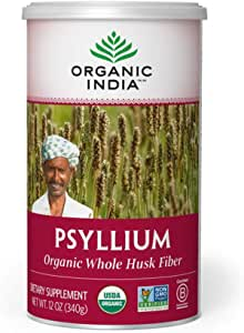 Organic India Psyllium Herbal Powder - Whole Husk Fiber, Healthy Elimination, Keto Friendly, Vegan, Gluten-Free, USDA Certified Organic, Non-GMO, Soluble & Insoluble Fiber Source - 12 oz Canister