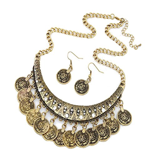 LuminosityLux Necklace, Retro Vintage Ethnic Carved Coins Necklace, 3X2cm, Women (Gold)
