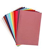 """12 PCS PU Leather Fabric Leather Canvas Back 8"""" x 12"""" with 12 Different Colors for Making Hair Bow Wallet Handbags Dressing Sewing Craft DIY Projects"""