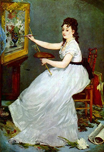 The Museum Outlet - Portrait of Eva Gonzalés in Manet's studio by Edouard_Manet - Poster (24 x 18 - Outlet La Gonzales In