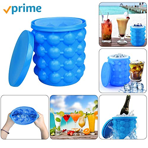 (Ice Bucket,Large Silicone Ice Bucket & Ice Mold with lid, (2 in 1) Space Saving Ice Cube Maker, Silicon Ice Cube Maker LEADTEAM, Portable Silicon Ice Cube Maker)
