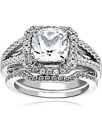 Sterling Silver Gemstone Split Shank Engagement Ring Set