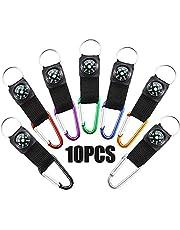 10 stuks kompas-sleutelhangers, karabijnhaken, sleutelhangers, gereedschap, outdoor, sport, sleutelhanger met kompas, voor kamperen, wandelen, klimmen, vissen of reizen
