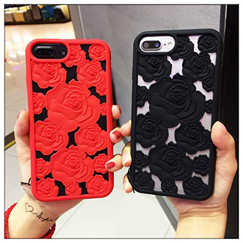 (Mixneer New 3D Hollow Rose Soft Silicone Phone Case Compatible with iPhone Xs MAX XR X SE 5S 8 8plus 6 6s Plus 7 7plus Luxury Gel Flower Back Cover (Black,iPhone XR (6.1 inch)))