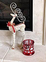 """Reindeer Metal Statue Christmas Holiday Figurine Small Home Office Fireplace Mantel Tree Decoration Indoor Outdoor Fancy Stander 19.5"""" x 8"""" by Hanna's"""