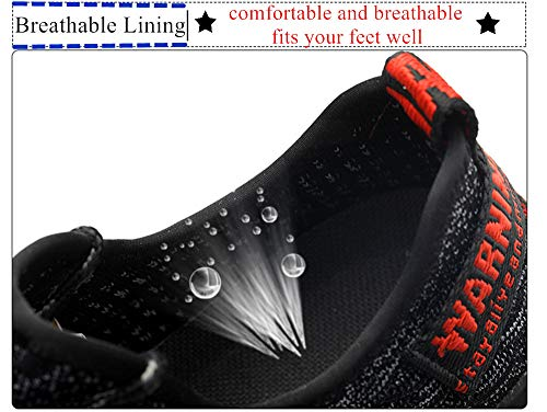 Men Fashion Safety Shoes Breathable Flying Woven Anti-smashing Steel Toe Caps Anti-piercing Fiber Mens Work Shoes by MEYZEZE (Image #4)
