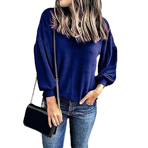 CactusAngui Otoño Casual Mujer Cuello Camiseta Más Tamaño Color Sólido Manga Larga Redonda Dark Blue L