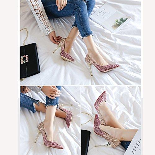 Ostos Koko Crystal Morsian Morsiusneito Kesän Kengät väri 35 Vaaleanpunainen Kärki Häät Työ Korkokengät Naisten Vaaleanpunainen zUSpTx