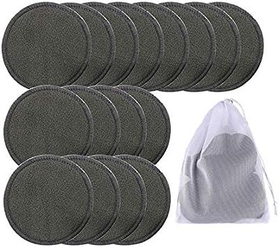 Gaetooely 16 Pi/èCes S/éRies R/éUtilisable Bambou Coton Maquillage Remover Pads Lavable Triple Couche Soins Du Visage Soins de la Peau Lingette Tampons de Nettoyage Pad avec Sac