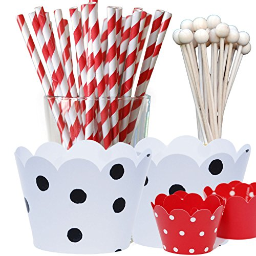 Dalmatians Theme Birthday Party Supply Pack, Black and White with Red, Polka...