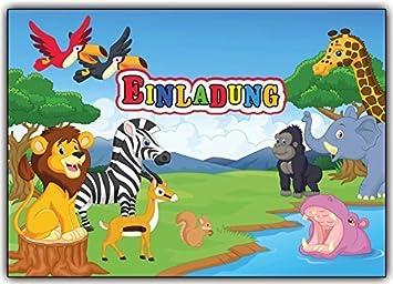 Wilde Tiere Einladungskarten Kindergeburtstag Einladungen Wildetiere Zoo  Safari (8 Stück) Jungen Mäden Safari Einladung