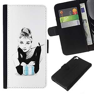 A-type (Blue Baby White Woman Movie Star) Colorida Impresión Funda Cuero Monedero Caja Bolsa Cubierta Caja Piel Card Slots Para HTC Desire 820
