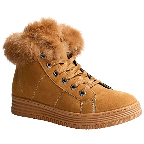 Feet First Fashion Jaina Womens Flat Faux Fur Lined High Top Ankle Boots Camel Brown Faux Suede iDWZD76lDH