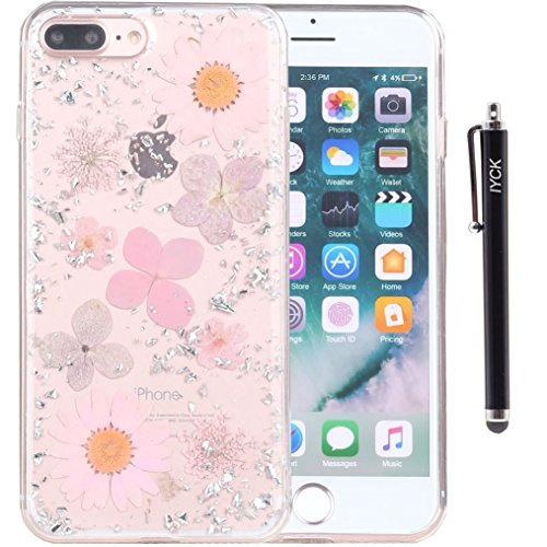 iPhone 8 Plus Case, iPhone 7 Plus Case, iYCK [Real Dried Flower] Pressed Floral [Gold Foil Embedded] Bling Glitter Flexible Soft Rubber TPU Back Cover Case for iPhone 7/8 Plus 5.5inch - Pink Silver