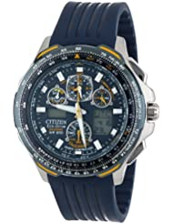 Citizen Mens JY0064-00L Eco-Drive Blue Angels Skyhawk A-T Chronograph Rubber Strap Watch