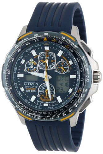 Drive Mens Timer Eco World - Citizen Men's JY0064-00L Eco-Drive Blue Angels Skyhawk A-T Chronograph Rubber Strap Watch
