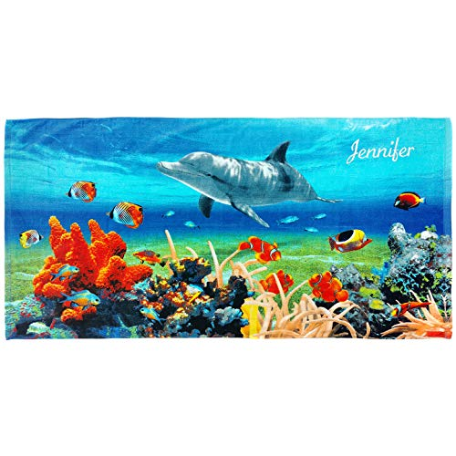 Cotton Sheet Set Emb - Kaufman - Personalized Kids Dolphin Coral Reef Beach and Pool Towel 30''X 60'' Custom Embroidered Soft Absorbent and Dry Fast 100% Cotton(105068)