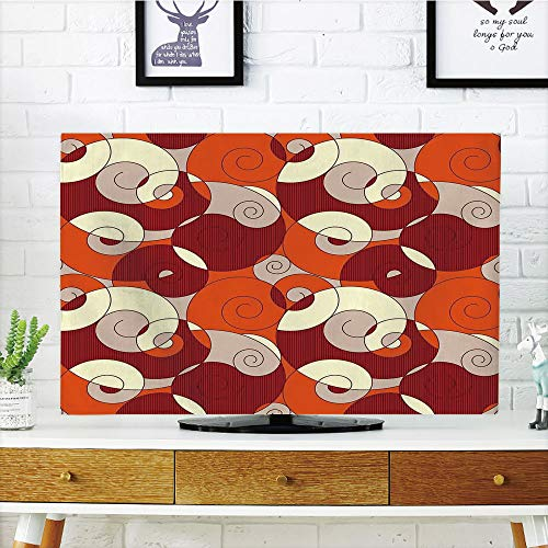 (LCD TV Cover Lovely,Abstract,Abstract Bold Spiral Motifs Circled Modern Pattern with Stripe Details Decorative,Orange Ruby Ivory,Diversified Design Compatible 65