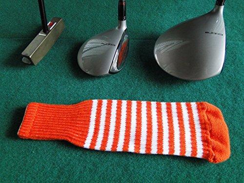 Knitted Zebra Style Driver & Hybrid One Size Fits All Cover (Dark Orange / (Dark Zebra)
