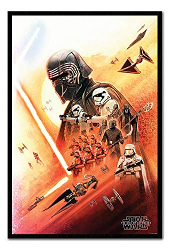 Star Wars The Rise of Skywalker Kylo Ren Poster Cork Pin Memo Board Black Framed - 96.5 x 66 cms (Approx 38 x 26 inches)