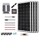 Renogy 400 Watt 12 Volt Solar Premium Kit w/ 4 Pcs 100W Solar Panel+40A MPPT Charge Controller+Solar Cable+Solar Fuse Mounting Z Brackets for RV, Boat